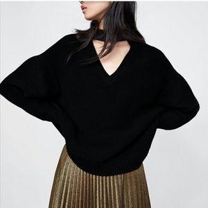 New Zara OVERSIZED Knit Cutout Sweater